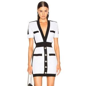 Image 1 - Adyce 2020 新夏の女性の包帯ドレス vestido セレブイブニングパーティードレスセクシーなディープ v 半袖ミニボディコンクラブドレス