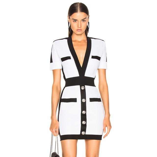 Adyce 2020 新夏の女性の包帯ドレス vestido セレブイブニングパーティードレスセクシーなディープ v 半袖ミニボディコンクラブドレス