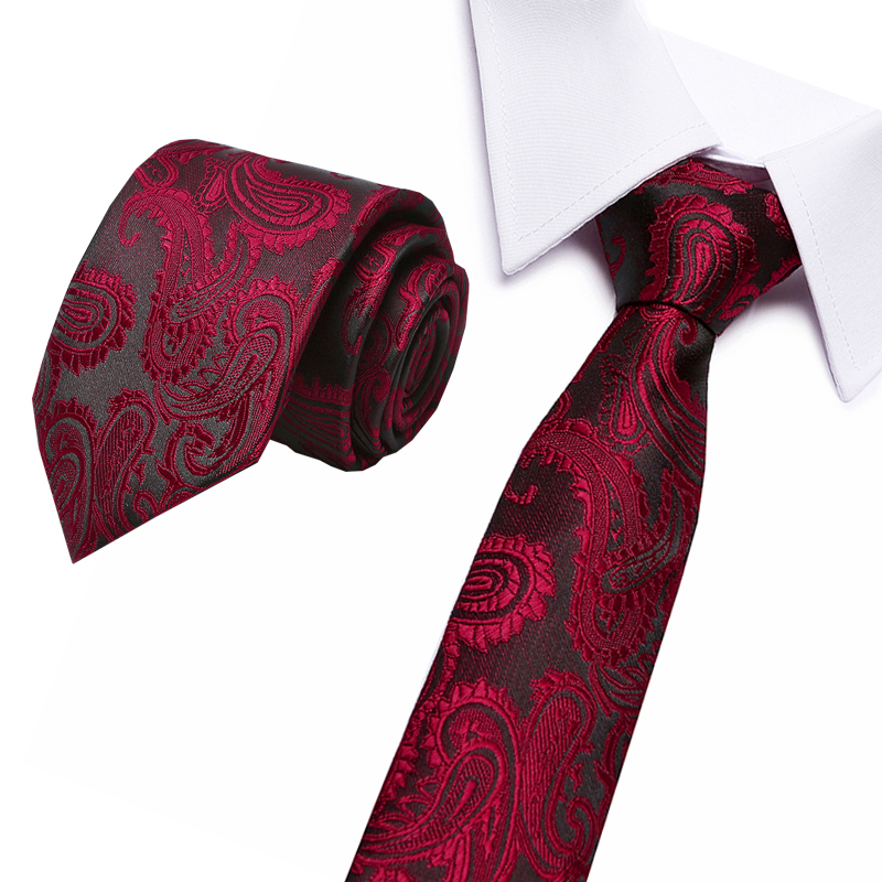New Red 7.5 Cm Flower Floral Stripe Ties For Men Classic Polyester Woven Necktie Luxury 100% Silk Luxury Wedding Business Male