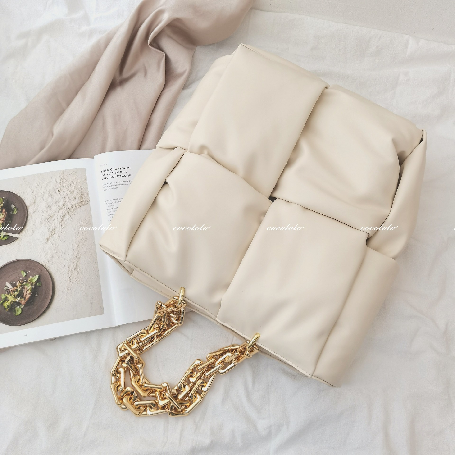 Moda grossa cadeias de couro tecido bolsas