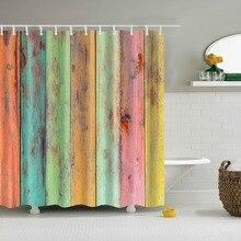 Cortinas de ducha de baño con puerta de madera estilo Retro Vintage Frabic cortinas de baño de poliéster impermeables con ganchos