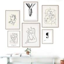Figuras abstractas de niña, líneas de formas, cuadro sobre lienzo para pared, carteles e impresiones, imágenes de pared para decoración de salón