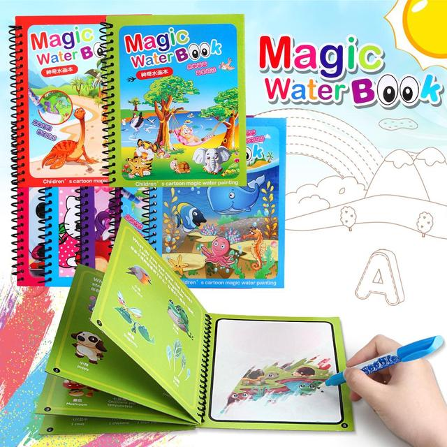 1Set Montessori Coloring Book Doodle Magic Pen Painting Drawing Board For Kids Toys Magic Water Drawing