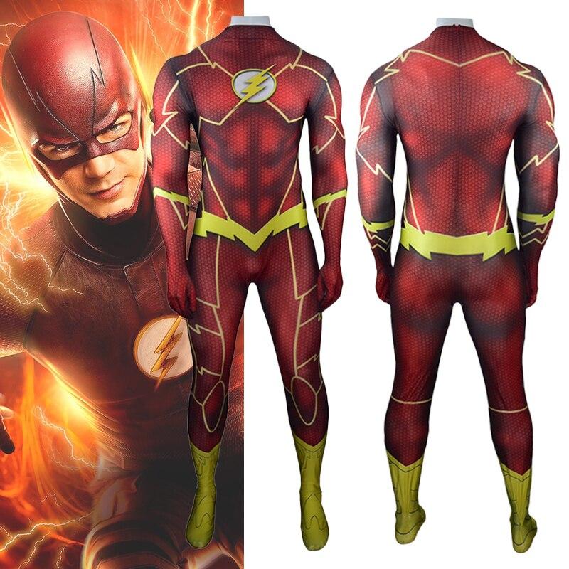 The Flash Barry Allen Cosplay Costume Zentai Superhero Carnival Bodysuit Adults Kids One-Piece Battle Suit Lycra Jumpsuits