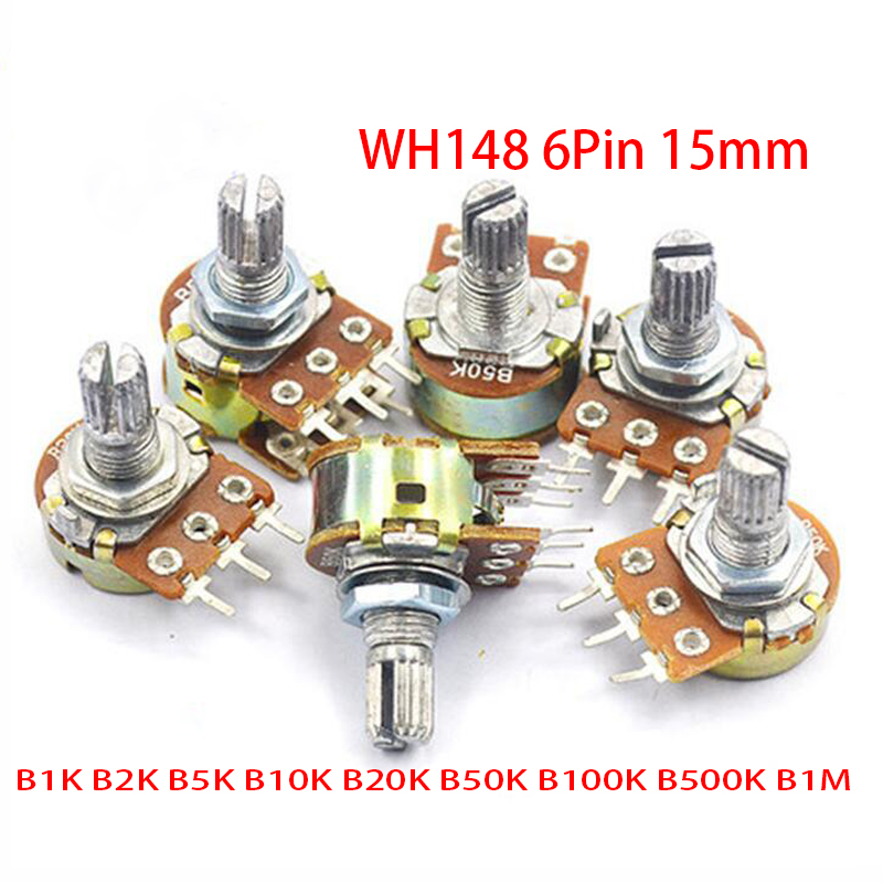 5 шт. B1K B2K B5K B10K B20K B50K B100K B500K B1M 6-контактный вал WH148 15 мм потенциометр 1K 2K 5K 10K 20K 50K 100K 500K 1M