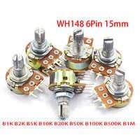 5pcs B1K B2K B5K B10K B20K B50K B100K B500K B1M 6Pin del eje WH148 15mm potenciómetro 1K 2K 5K 10K 20K 50K 100K 500K 1M