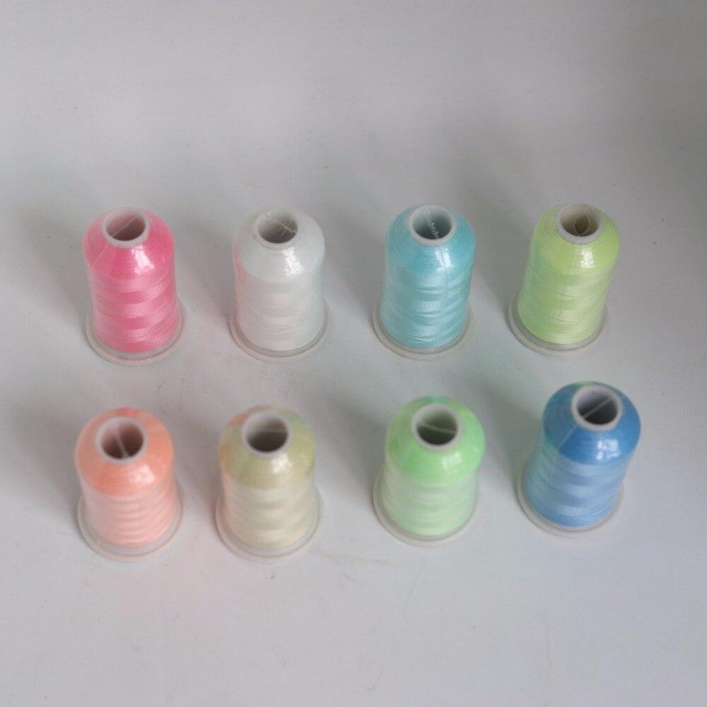 2020 1000m per spool светится в темноте Thread полиэстер вышивка нить для шитья 150D/2 светящийся, 8 цветов