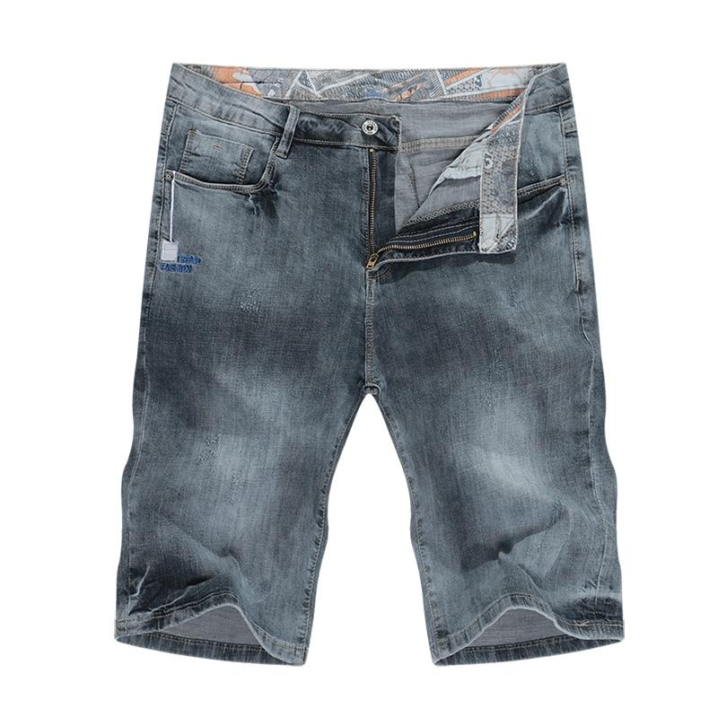 KSTUN Jeans Shorts Mens Grey Jeans Stretch Slim Straight Vintage Casaul Pants Summer Denim Shorts Male Jeans High Quality Brand 11