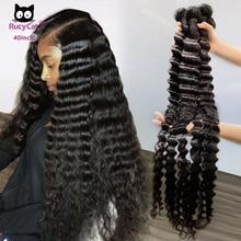 Бразильские человеческие волосы пряди волос глубокая волна волос ткать натуральный Цвет волосы Remy средней длины соотношение человеческие волосы для наращивания 1 шт./3/4 шт