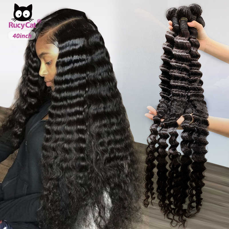 Brazilian Human Hair Bundles Deep Wave 8- 32 34 36 38 Inch Hair Weave Natural Color Remy Human Hair Extension 1/3/4PC Free Ship