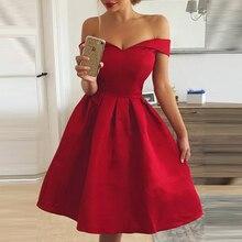 Elegant Red Dress Women Patchwork Slash Neck Short Sleeve Tunic Dress
