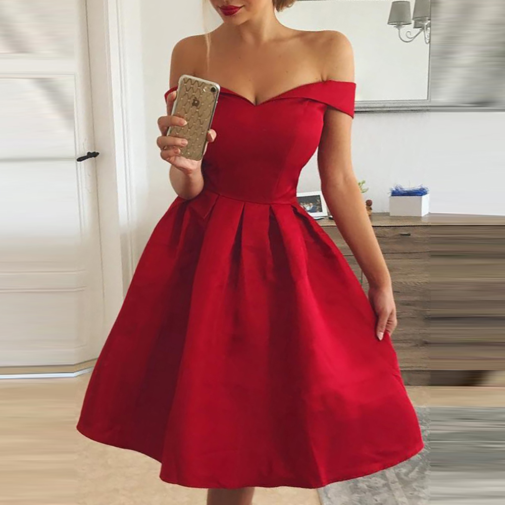 Elegant <font><b>Red</b></font> <font><b>Dress</b></font> Women Patchwork Slash Neck <font><b>Short</b></font> Sleeve Tunic <font><b>Dress</b></font> 2019 Summer Lady <font><b>Sexy</b></font> Prom Gown Evening Party <font><b>Dresses</b></font> D30 image
