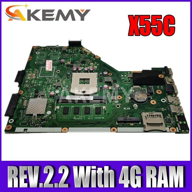 Akemy placa-mãe do portátil para asus x55vd x55c x55cr x55v mainboard slj8e rev.2.2 com 4g ram