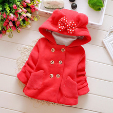 Girls Casual Thick Woolen Coats Children's Hooded Shirt Bow Pocket Double-breasted Outerwear