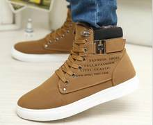 New fashion Men Boots Fashion Warm Winter Men shoes Autumn Leather Footwear For Man New High Top Canvas Casual Shoes(China)