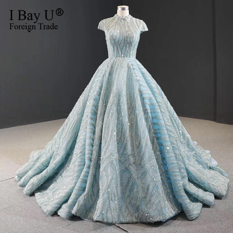 Light Bluish Green Lace Sequins Custom Made Wedding Gown 2020 High Collar Dubai Sparkle Muslim Bridal Gowns robe de mariee