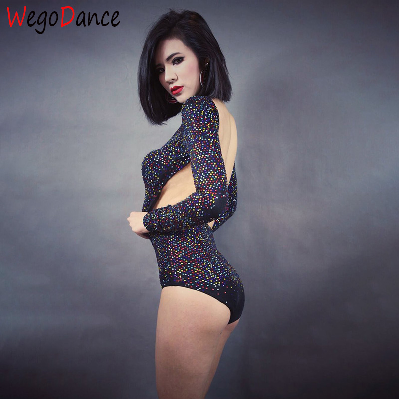 New Women Sexy Full Rhinestones Costume Stage Dance Wear Backless Bodysuit Leotard Dance Performance Costume