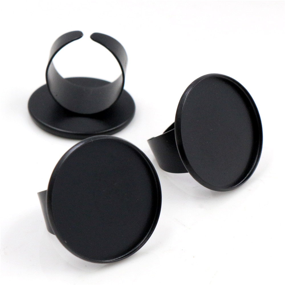 25mm 4pcs Black Plated Brass Adjustable Ring Settings Blank/Base,Fit 25mm Glass Cabochons,Buttons;Ring Bezels -K2-08