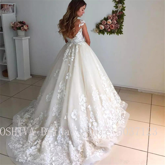 Ball Gown Illusion Scoop Wedding Dresses with Cap Sleeves Sexy Sleeveless V Back Lace Appliques Bridal Gowns Robe de Mariee 3