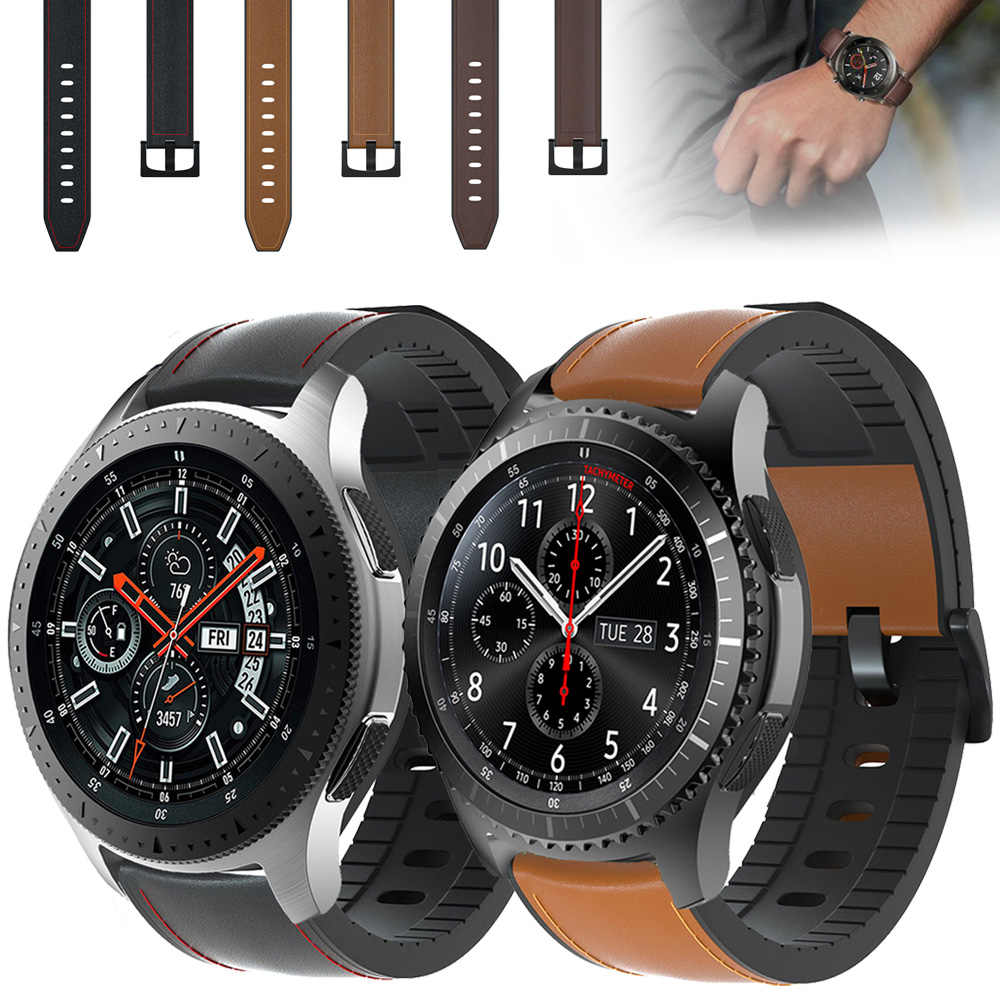 22 Mm Tali Jam untuk Samsung Galaxy Watch 46 Mm Genuine Leather Band Silikon Gelang Gelang Jam Gear S3 Frontier & Klasik ремешок