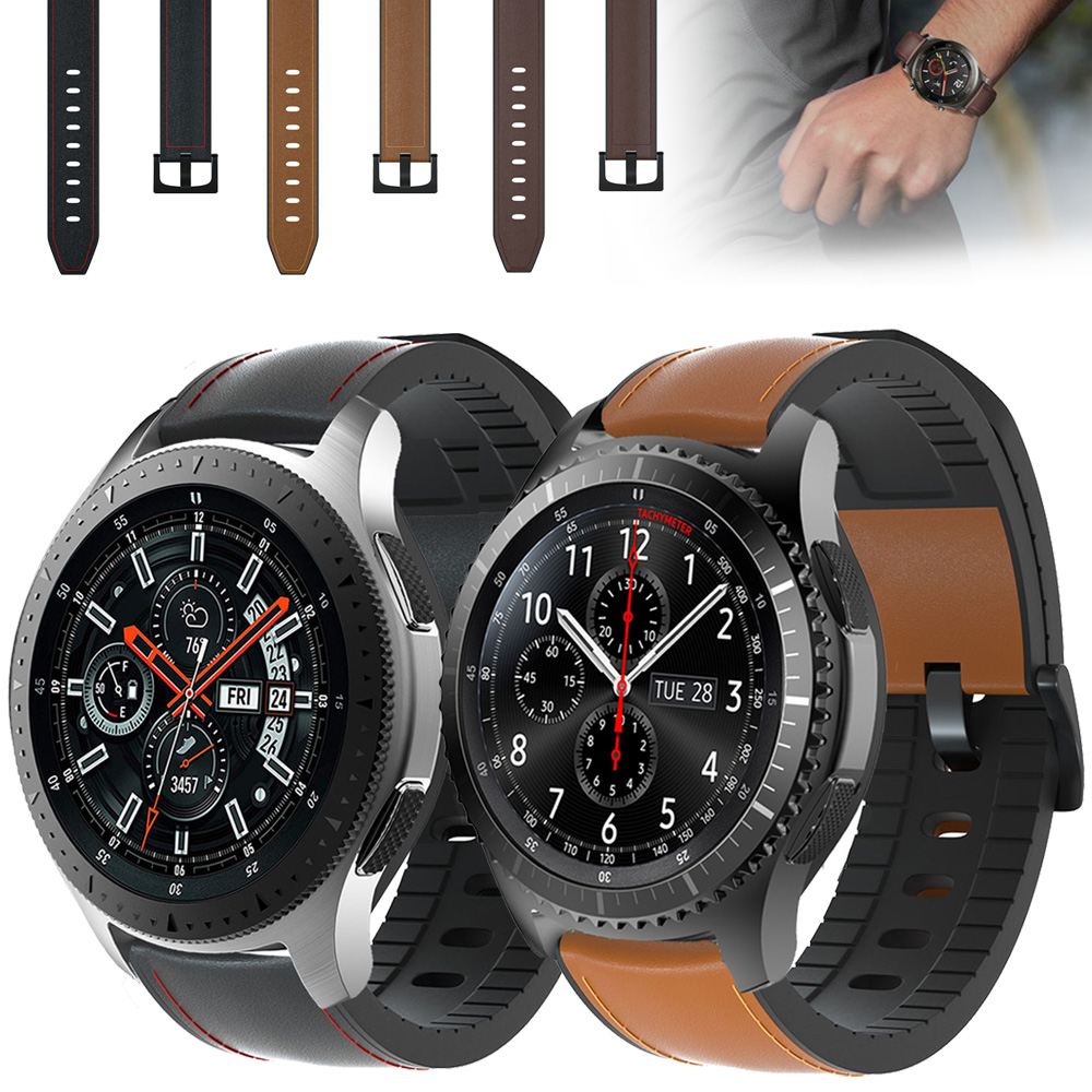 22mm Watch Strap For Samsung Galaxy Watch 46mm Genuine Leather Band Silicone Bracelet Watchband Gear S3 Frontier&Classic ремешок