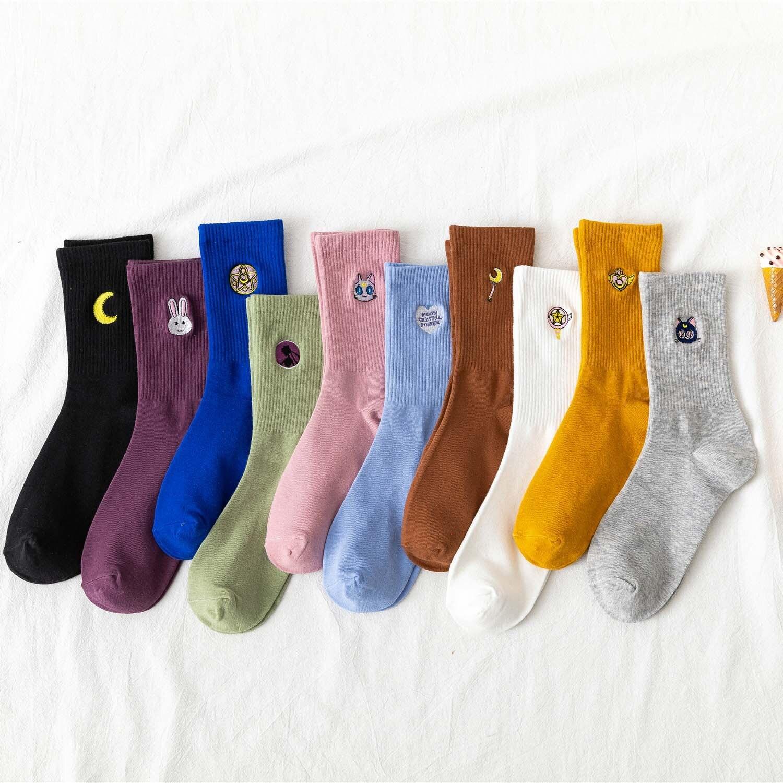 Kawaii Moon/забавные Женские носочки для девочек, корейские женские носки из чистого хлопка с милой вышивкой, 1 пара, уличная одежда, Sailor Moon|Носки|   | АлиЭкспресс