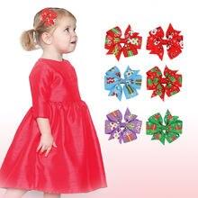 Рождественские заколки для волос с бантом банты малышей девочек