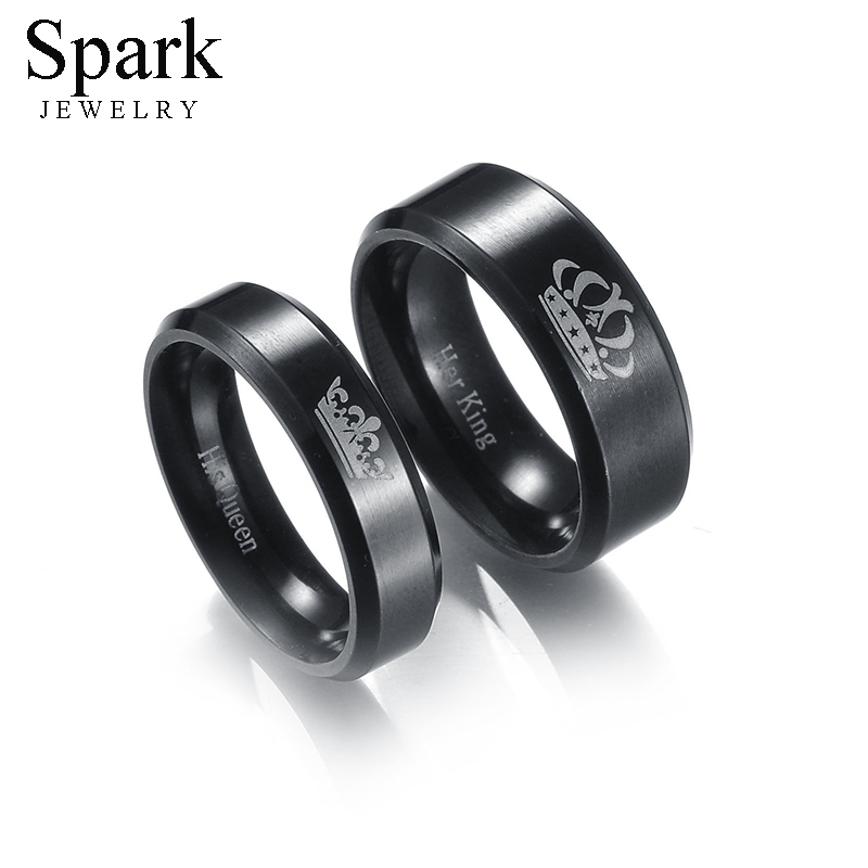 Spark 1pc Stainless Steel Wedding Rings For Women Men His Queen