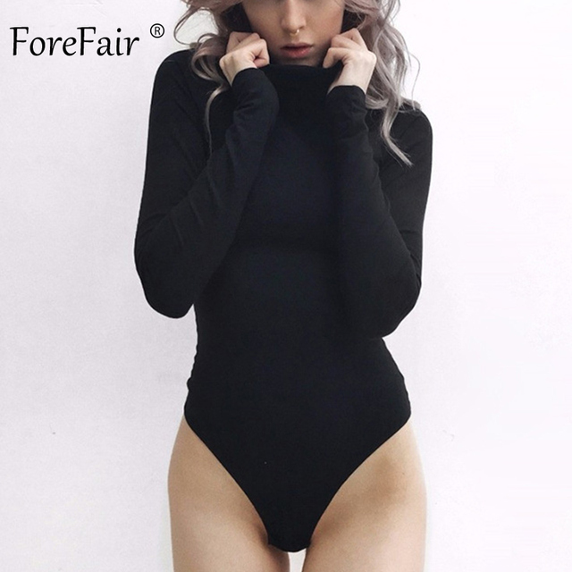 Forefair Sexy Solid Turtleneck Body Femme Long Sleeve Tops Autumn Winter Elegant Slim Bodycon Black White Bodysuit Womens 2
