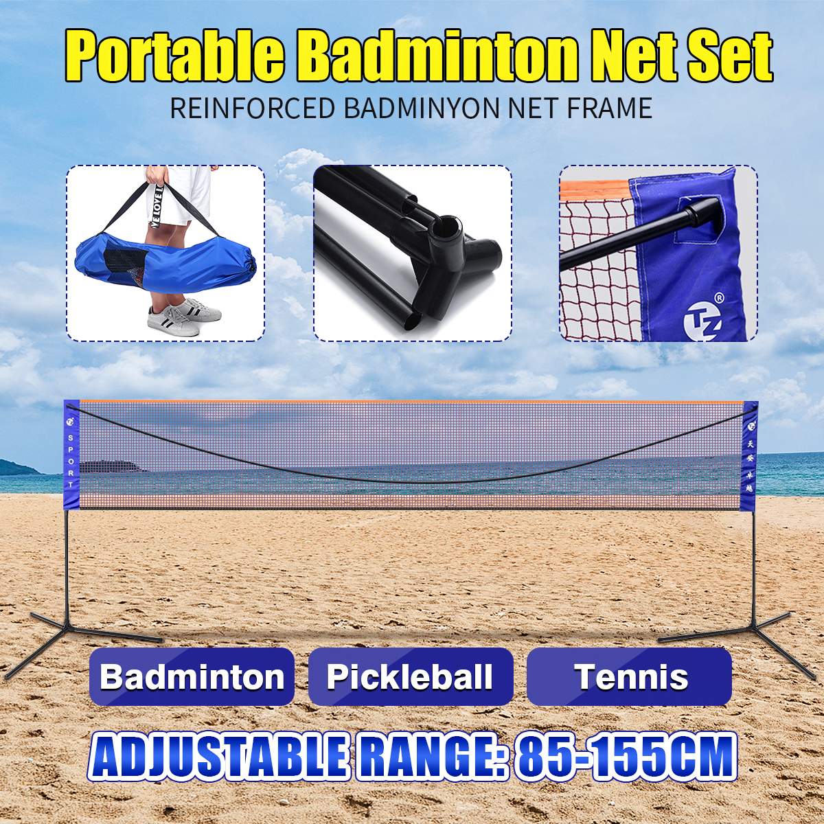 Portable Badminton Volleyball Tennis Net 610cm Width Adjustable Height Sport Badminton Net Kit With Stand/Frame And Carry Bag