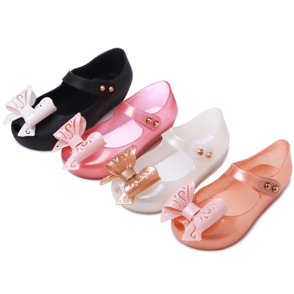 Kids Shoes 2019 Hollow Bow Fish Mouth Sandals PVC Children's Shoes Jelly Color Girls Sandals Princess Shoes Size 21-29