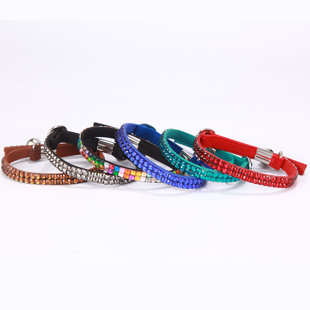 Small Dog Neck Ring Colorful Hot Drilling Collar Pet Supplies Double Layer Suede Microfiber Comfortable Cat Neck Ring