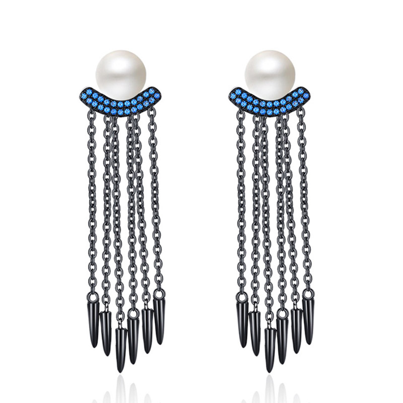 Offre spéciale longue chaîne gland boucles d'oreilles pour les femmes pur 925 en argent Sterling perle d'eau douce bleu CZ pierre boucle d'oreille partie cadeau bijoux