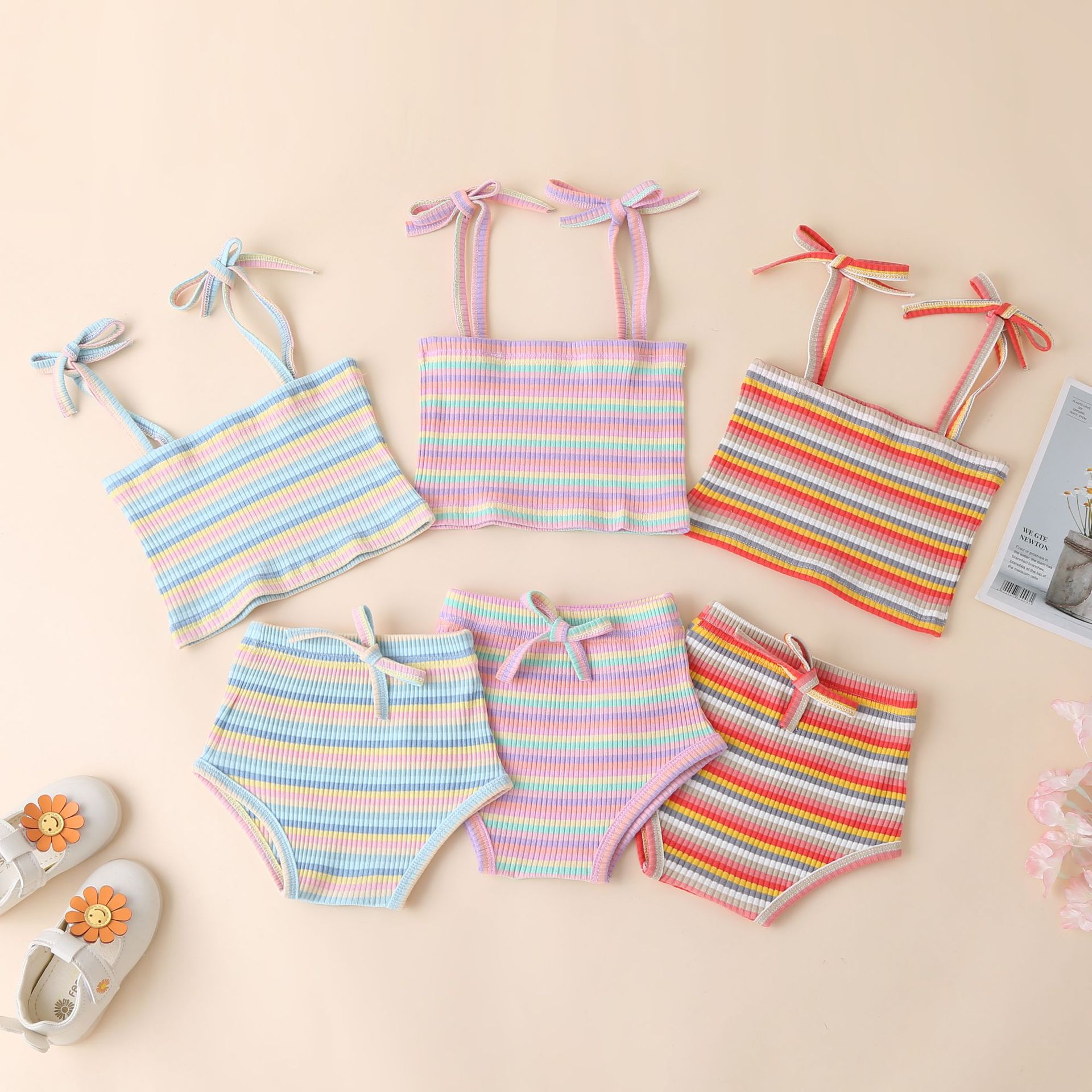 Ins Baby Clothes Summer New Product Color Pit Stripe Sling + Shorts Clothing Newborn Baby Girls Swimming Suit Rainbow Outfits
