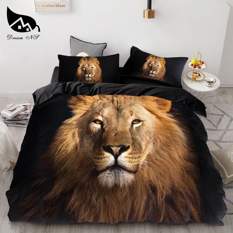 3PCS Wolf Tiger Lion Animal Pattern Bedding Sets Home Bedclothes Super King Cover Pillowcase Comforter Textiles Bedding Set