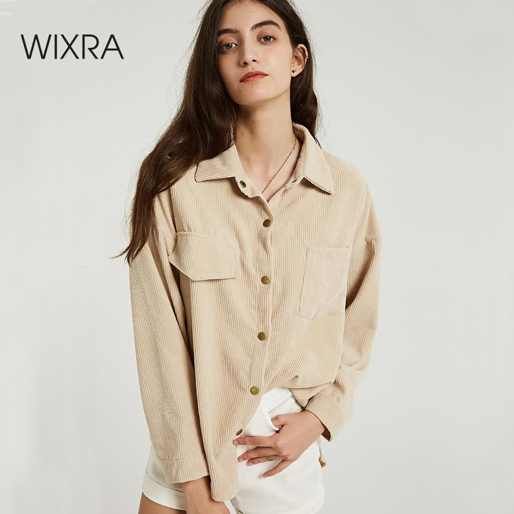 Wixra Women Solid Blouse Ladies Casual Corduroy Long Sleeve Turn Down Collar Pockets Shirts 2019 Autumn Spring Basic Tops(China)