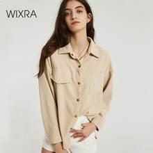 Wixra Vrouwen Solid Blouse Dames Casual Corduroy Lange Mouw Turn Down Kraag Zakken Shirts 2019 Herfst Lente Basic Tops(China)