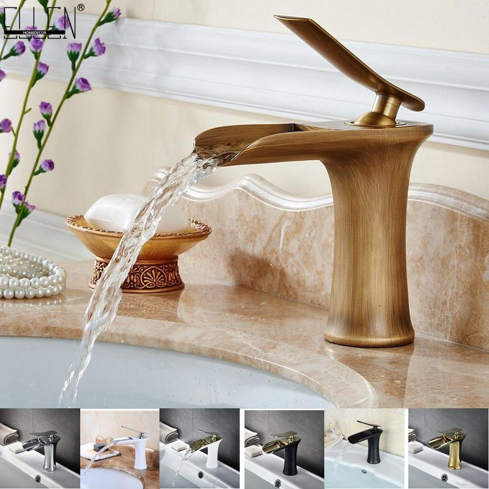 Waterfall Bathroom Basin Sink Faucets Hot Cold Tap Deck Mounted Water Mixer Crane Antique Bronze Chrome Finished ELM100