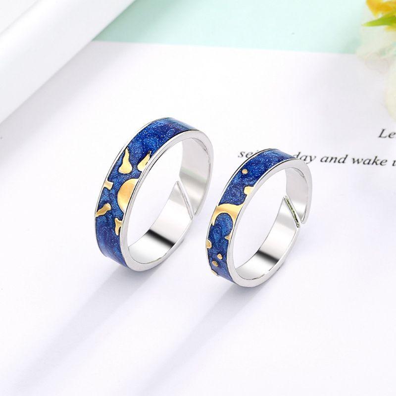 2 pièces Van Gogh bleu ciel étoilé anneau ouvert étoile lune toujours penser que vous amant anneau