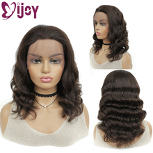 Wigs Human-Hair IJOY Lace Front Black Dark-Brown Deep-Remy Loose Women Brazilian