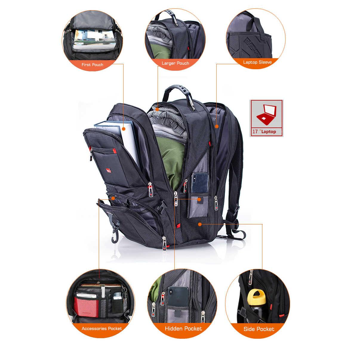 """Crossten 17.3 """"dizüstü sırt çantası su geçirmez USB şarj portu İsviçre çok fonksiyonlu sırt çantaları Schoolbag Mochila yürüyüş seyahat çantası"""