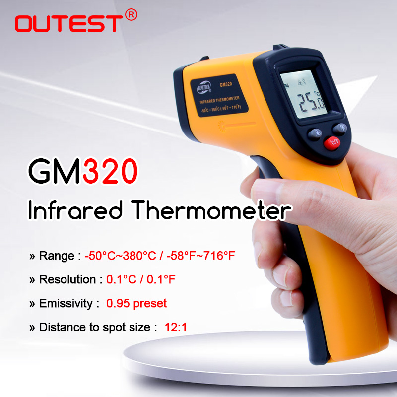 GM320 numérique IR infrarouge température mètre thermomètre pistolet Point-50 ~ 380 degrés sans Contact LCD rétro-éclairage
