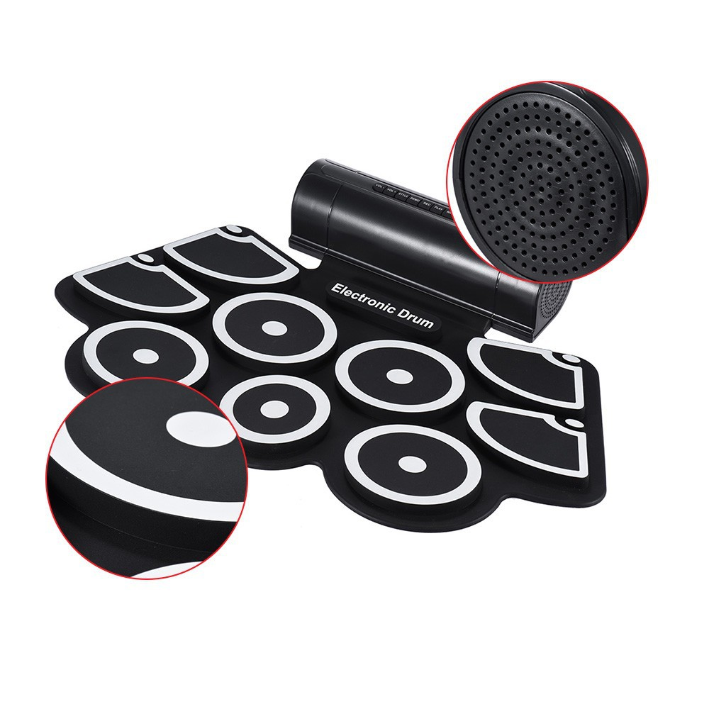 Thick Silica Gel Hand Roll-up Drum Kit External Audio W760 Jazz Drum USB Electronic Drum With Trumpet Percussion Instrument
