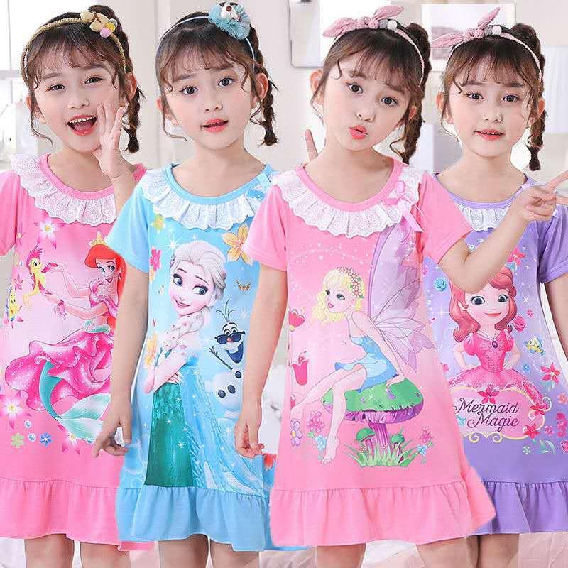 Платье принцессы Эльзы для девочек, ночные рубашки, летние шорты в полоску с длинными рукавами мультяшная Ночная сорочка трикотажная пижам...