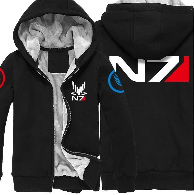 And Winter Jackets Coat Mass Effect N7 Hoodie Thicken Warm Men Sweatshirts S-5XL High Quality