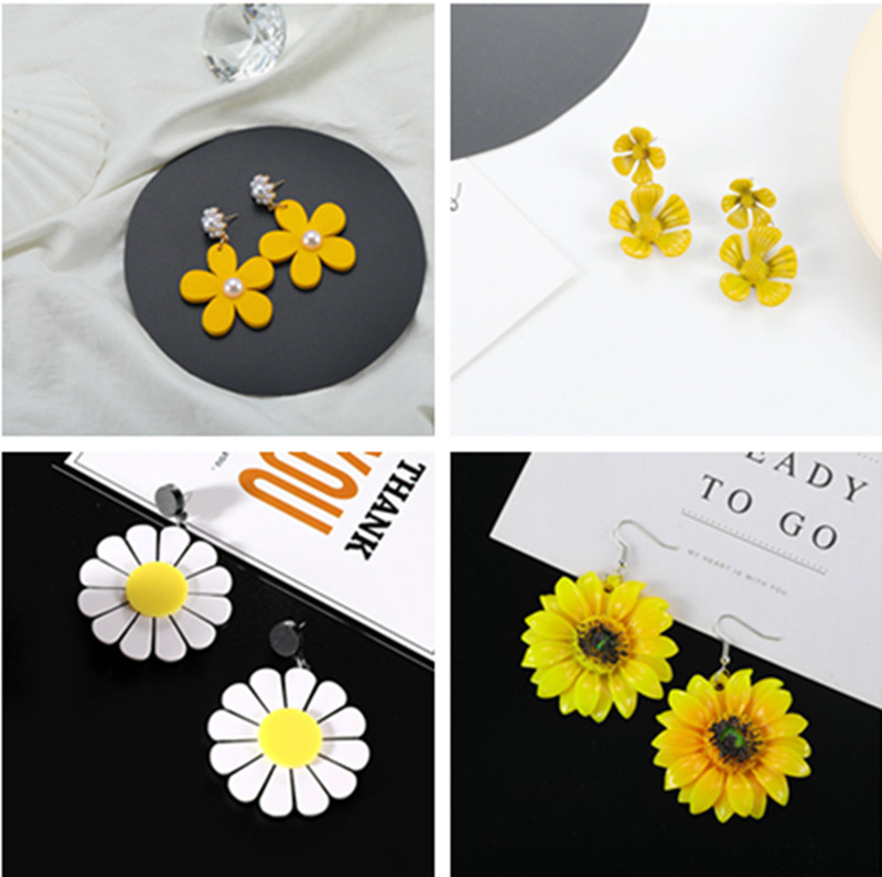 New Fashion Flower Stud Earrings for Women Girl Small Cute Yellow Color Wholesale Jewelry