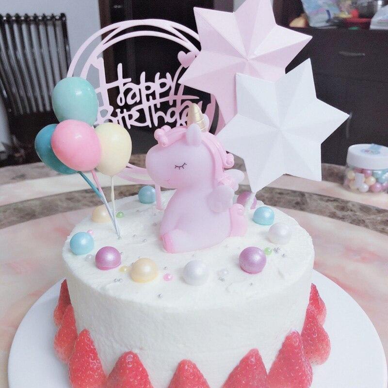 Cool Kawaii Unicorn Figurine Cake Topper Small Rainbow Mini Figurine Personalised Birthday Cards Paralily Jamesorg