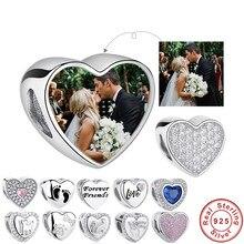 ELESHE 100% de Plata de Ley 925 del encanto del grano Fit Original Pandora pulsera foto personalizada DIY de corazón de cristal de perlas de joyería
