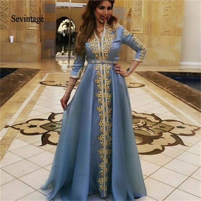 Sevintage Golden Lace Appliques Moroccan Kaftan Evening Dress Three Quarter Sleeve Saudi Arabic Prom Gowns Muslim Chiffon Dress