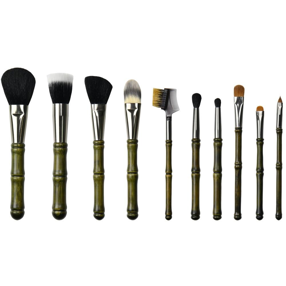 bhs 10 cosmeticos bambu lidar com po blush destaque fundacao maquiagem escova 10 pc set